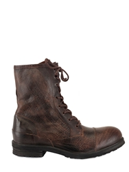 Ksubi Textured Calfskin Lace Up Low Boots Brown