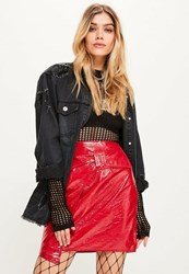 Missguided Red Faux Leather Tie Belted Mini Skirt