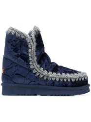 Mou Quilted Ankle Boots Blue