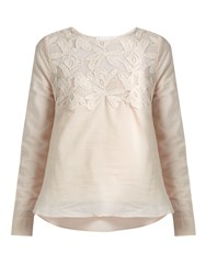 See By Chloe Lace Yoke Cotton Top Nude