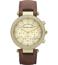 Michael Kors Mk2249 Parker Gold Plated And Leather Chronograph Watch Brown