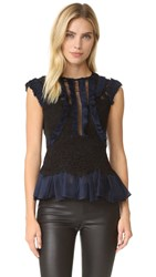 Rebecca Taylor Sleeveless Vien Lace Top Black Navy