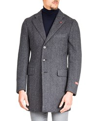 Isaia Herringbone Wool Coat Gray