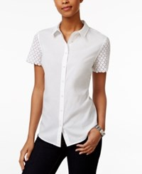 Tommy Hilfiger Button Front Eyelet Sleeve Shirt Bright White