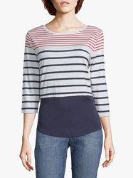 Betty And Co. Colour Block Striped Top Red White Blue