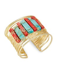 Panacea Multi Colored Natural Stones Band Bracelet