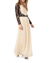 Miss Selfridge Lace Sleeve Pleated Maxi Dress Multi