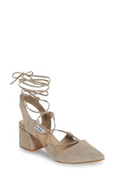 Steve Madden Women's Davit Lace Up Pump Taupe Suede