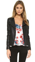 Cupcakes And Cashmere Caitlyn Vegan Leather Jacket Black