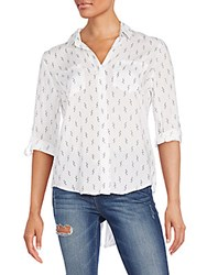 Saks Fifth Avenue Red Riley Printed Blouse White