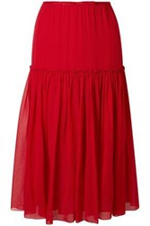 Giambattista Valli Gathered Silk Chiffon Midi Skirt Crimson
