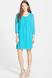 Pleione Three Quarter Sleeve Pleat Front Dress Regular And Petite Blue