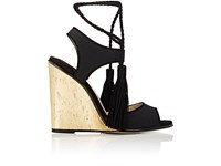 Paul Andrew Women's Tianjin Canvas And Suede Wedge Sandals Black Gold