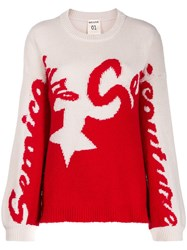 Semicouture Two Tone Logo Knit Sweater 60