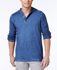 Inc International Concepts Men's Henley Style Cotton Hoodie Only At Macy's Basic Navy