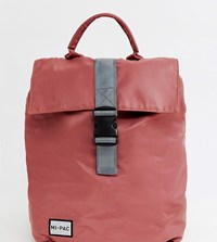 Mi Pac Nylon Fold Top Backpack In Rose Pink With Reflective Logo Rose Pink