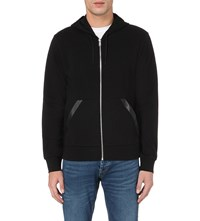 Sandro Leather Trim Cotton Jersey Hoody Black