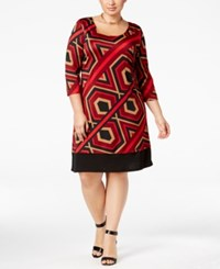 Ny Collection Plus Size Printed Shift Dress Red Hexline