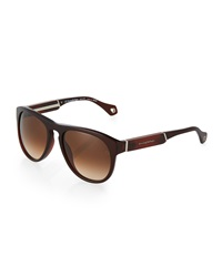 Ermenegildo Zegna Wooden Aviator Sunglasses Brown