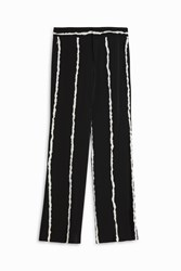 Derek Lam Wide Leg Stripe Trousers Black