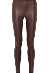 Helmut Lang Stretch Leather Leggings Burgundy