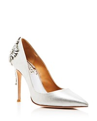 Badgley Mischka Poetry Metallic Pointed Toe Pumps Silver