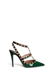 Valentino 'Rockstud' Caged Patent Leather Pumps Green