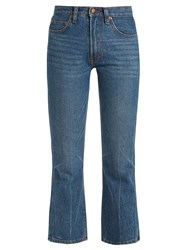 Bliss And Mischief Cowboy Fit Bootcut Cropped Jeans Blue
