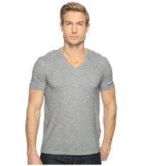 John Varvatos Short Sleeve Knit V Neck With Self Fabric Detail K2979t1l Steel Grey Men's Clothing Gray