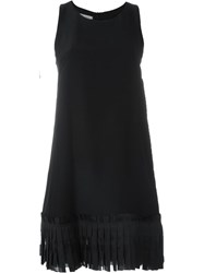 Dondup Pleated Hem A Line Dress Black