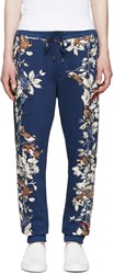 Dolce And Gabbana Navy Flowers And Birds Lounge Pants