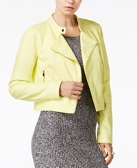 Bar Iii Cropped Faux Leather Jacket Only At Macy's Electric Citron