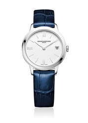 Baume And Mercier Classima 10353 Stainless Steel Alligater Embossed Leather Strap Watch Dark Blue
