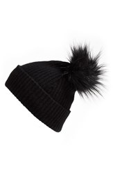 Women's Halogen Faux Fur Pom Cashmere Blend Beanie Black