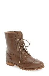 Sudini Women's 'Felicia' Lace Up Boot Taupe Leather