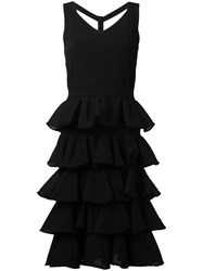 D.Exterior Pleated Trim Flared Dress Black