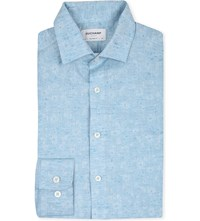 Duchamp Floral Jacquard Tailored Fit Single Cuff Shirt Blue