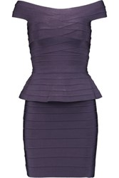 Herve Leger Off The Shoulder Bandage Peplum Mini Dress Dark Purple
