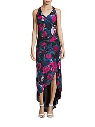 Haute Hippie Ruffled Floral Print Hi Lo Dress Cotton Gin Floral