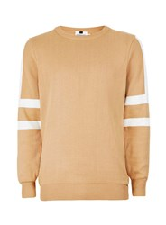 Topman Camel And White Sleeve Stripe Jumper