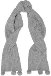 N.Peal Cashmere Cable Knit Cashmere Scarf Gray