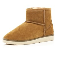 River Island Womens Light Brown Faux Fur Trim Low Ankle Boots