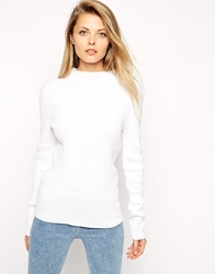 Asos Jumper In Rib With Turtle Neck White