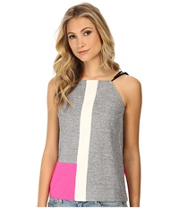 Whitney Eve Sugar Cane Top Grey White Hot Pink Women's Clothing Gray