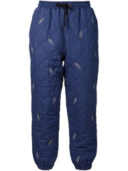 Na Di Paper Clip Motif Quilted Trousers Blue