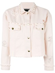 Marco Bologna Oversized Studs Denim Jacket Pink Purple