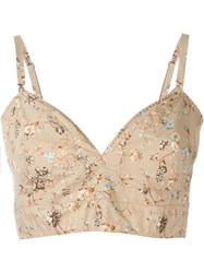 Etro Floral Print Bralette Top Nude And Neutrals