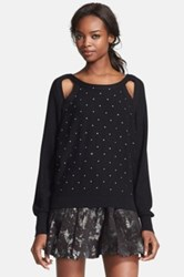 Tracy Reese 'Sparkle' Embellished Cutout Pullover Black