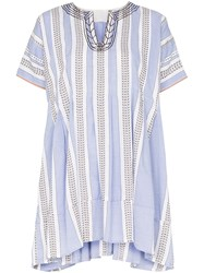Lemlem Amira Striped Mini Smock Dress Blue