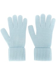 N.Peal Ribbed Cashmere Gloves Blue